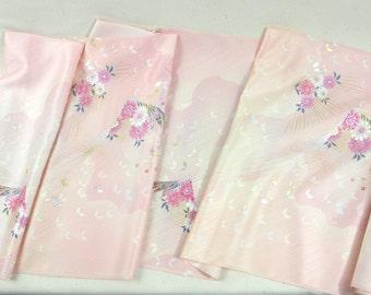 Vintage Japanese Kimono Silk Fabric, Butterfly Chrysanthemum
