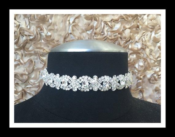 Silver Diamond Rhinestone Choker #C106