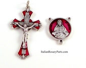 Sacred Heart of Jesus Red Enamel Rosary Crucifix and Center Set | Italian Rosary Parts