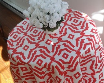 """Round tablecloth, 60"""" diameter, lava red and white Chevelle trellis, dining, cotton 415"""