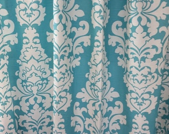Two 50W x 84L curtain panels, unlined, Berlin, coastal blue and white cotton
