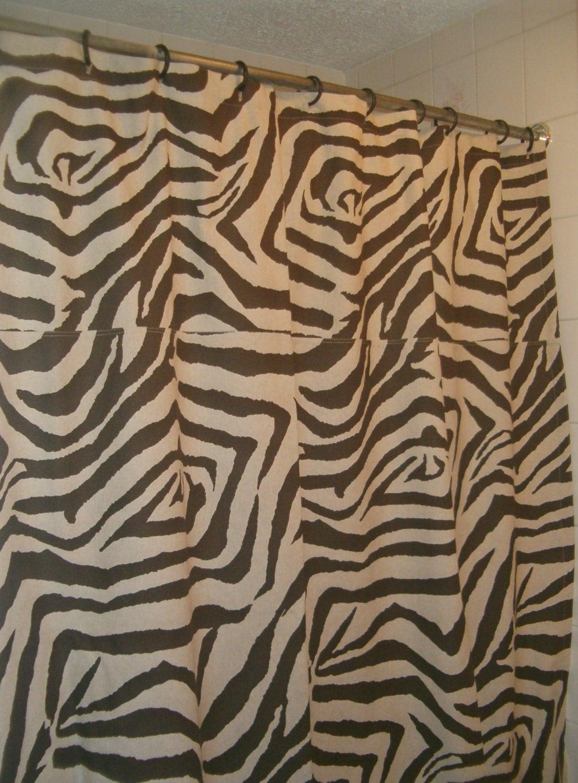 brown and oatmeal beige zebra animal print shower curtain