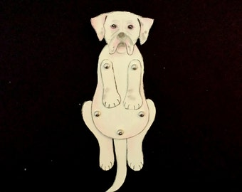 "Doggy Dog Moveable Paper Doll/s ""Pitbull""(white and pink spots)"