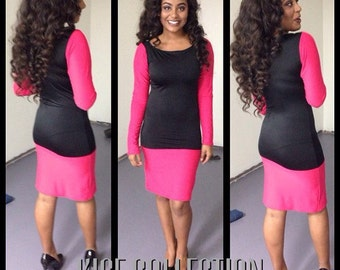Black and pink color block dress Size S - M