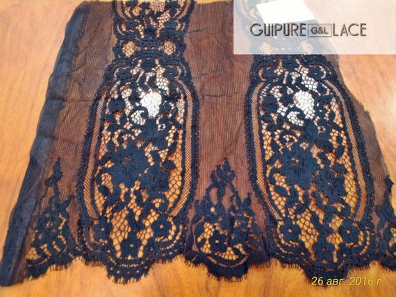Black lace fabric, Evening lace fabric, Gorgeous black chantilly lace fabric