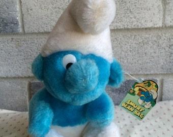 Vintage Blue Smurf plush toy, Smurf Plush, Vintage Smurf Doll