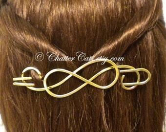 Celtic Bun Holder Brass Hair Stick Barrette Hair Barrette Hair Slide Hair Clip Hair Pick Hair Pin Hair Stick Hair Fork Scarf Pin OOAK
