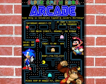Super Mario & Pac Man Retro Arcade Custom Birthday Invitation