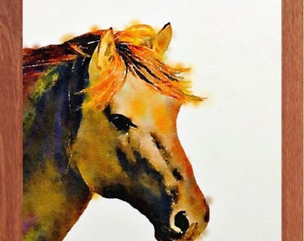Horse painting, wildlife water colour, animal wall art, digital print.