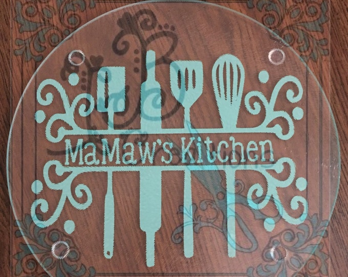 MaMaw's Kitchen Cutting Board/Hot Plate, Nana's, MeMaw's, Momma's, Granny's, Mimi's Kitchen Gifts for her, Kitchen Decor, Spoon rest