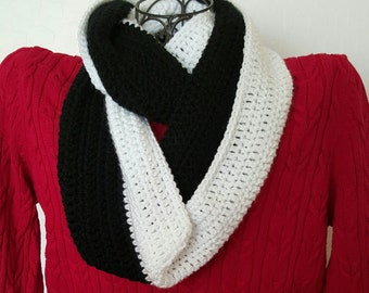 Freya Infinity Scarf Black and White READY TO SHIP