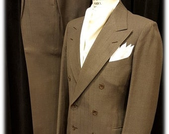 Fabulous Mens 1940's Bespoke Double Breasted Mobsters Suit Window Pane Great Colors L@@k!!!!!