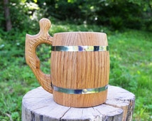 Oaken handmade mug with steel flask crafted wood beer stein tankard beer accessories personalized customized cup gift handmade oak