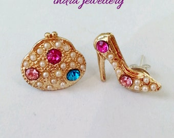 high heel and handbag stud earrings, gladrags jewelry, jewelry for shoppers, shoe earrings, handbag earrings, fashion earrings