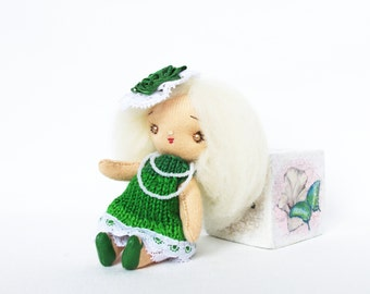 Rag doll Miniature doll Tiny cloth doll Small doll in box Handmade doll Green summer fairy doll Pocket doll Mini fabric doll 4 inch Alea