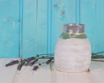 Big ceramic vase - white, lightblue and mint glazed - cottage style - rustic - mediterranean - ceramic pot