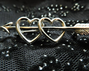 Heart and Arrow Brooch Sterling Silver