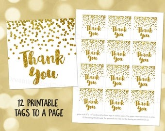 Printable Thank You Favor Tags Gold Confetti for Wedding, Baby Shower, Bridal Shower Instant Digital Download
