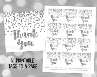 Printable Thank You Favor Tags Silver Confetti for Wedding, Baby Shower, Bridal Shower Instant Digital Download