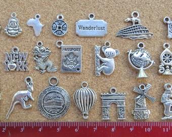 Travel Charms Pendants; Silver Toned Zinc Alloy; Set of 24
