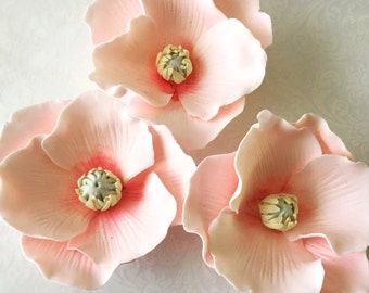 4 Fondant Poppy Flowers I 4 Gumpaste Poppy Flowers I Fondant Flowers Gumpaste Flowers Colorful Flowers Edible Flowers Edible Poppies
