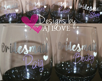 Glittered Stemless Wine Glass 15oz-Bridesmaid/Bridal Party/Bachelorette/