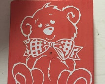 Adorable Bear with Bow Tie Wood Sign