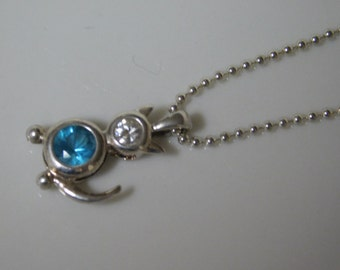 Vintage Sterling Silver Blue & White Topaz Necklace pendant