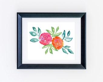 Digital Art - Printable Flower Wall Art - Flower Print - Watercolor Flower Art - Floral Print - Watercolor Floral - Office Art