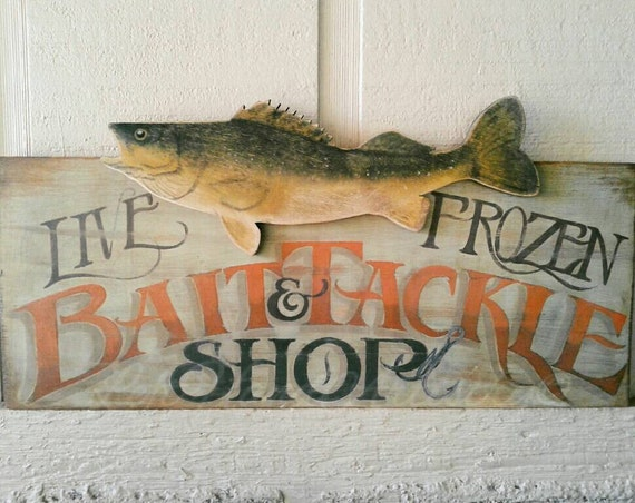 Vintage bait tackle sign all free handed walleye fish for Vintage fishing signs