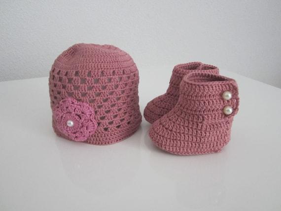 Cadeau naissance fille, ensemble bébé fille, bonnet et chaussons coton, bonnet bébé fille crochet, ensemble crochet bébé fille