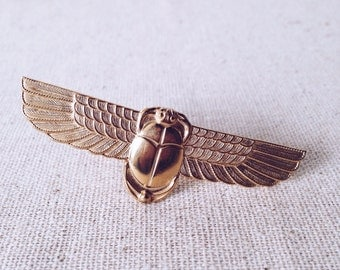Winged Scarab Ring // Brass Ring, Scarab Ring, Gold Ring, Ancient Egyptian Jewelry, Statement Ring, Vintage Style, Tribal, Knuckle Ring
