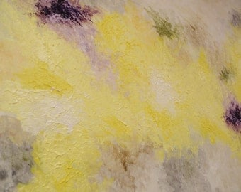 Original Abstract Canvas Painting Acrylic- Yellow & Purple Accents - metallic highlights - neutral background