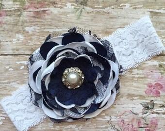 White and navy baby headband- navy and white headband- white newborn headband-navy vintage lace headband-navy blue and white baby headband-