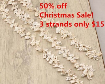 50% Off Christmas Sale!Freshwater Biwa Pearl Strand,White Biwa Pearl Necklace,Cultured Pearls,Natural Biwa Pearl Instock ,3strands,WYJ-ZL198