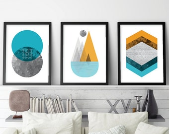 Set of 3 Geometric Prints, Geometric Print Set, Minimalist Posters, Scandinavian Prints, Scandinavian Modern, Mountain Print, Printable Art