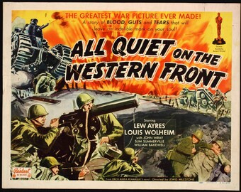 All Quiet on the Western Front 1930 Drama/Action Movie POSTER Academy Award Winner