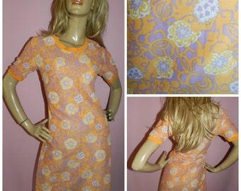 Vintage 60s Orange/Lilac PSYCHEDELIC FLOWER Power MOD Scooter dress 14 M 1960s Kitsch Semi sheer