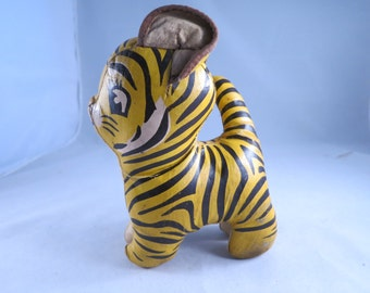 Antique/Vintage Leather Stitched Stuffed Child Toy Tiger