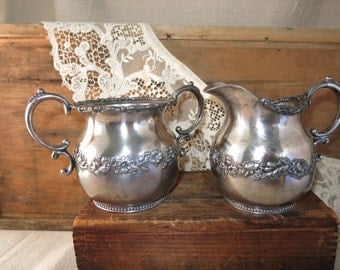 Antique Silver Plate  Sugar and Creamer 1880's Pairpoint Quadruple Silverplate Sugar & Creamer Set