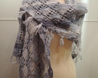 Crochet light blue lace scarf, wool shawl