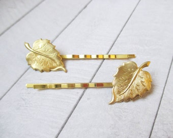 Leaf bobby pins Gold Leaf Hair clips Leaf Hair Pins Raw Brass Wedding Bridesmaids Bridal Gifts for her Hair Accessories Girl accessories