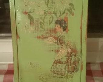 Green Hanging Recipe Box - Distressed Recipe Box - Painted Recipe Box - Wood Recipe Box - Wall Recipe Box - Shabby Chic Recipe Box