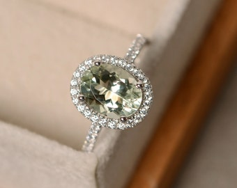 Green amethyst ring, halo engagement ring, oval cut, sterling silver green amethsyt