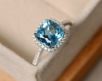Swiss blue topaz ring, cushion cut, sterling silver, gemstone