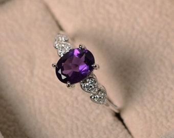 Purple amethyst ring, sterling silver, February birthstone, oval cut, engagement ring