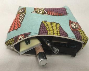Cosmetic bag zipper pouch storage owl