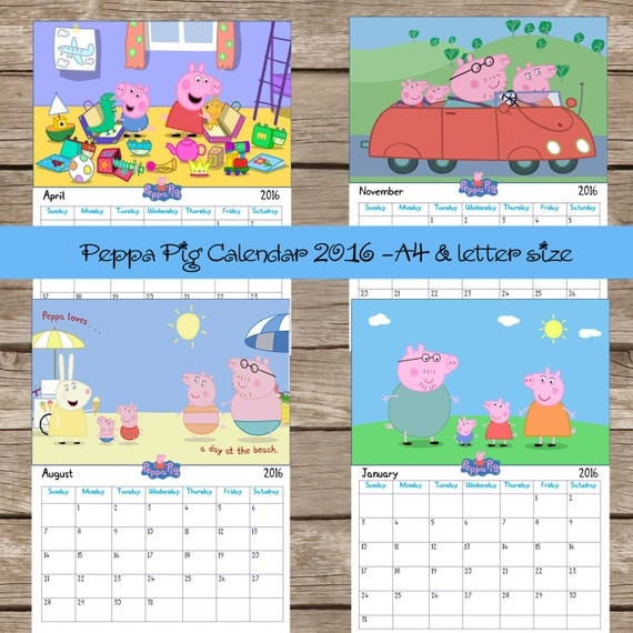 Items similar to Peppa pig Calendar 2016. 12 Months