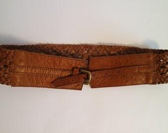 Vintage Leather Belt, Brown Leather Belt, Boho Chic Belt, 1990s Bohemian Belt, Hippie Style Belt