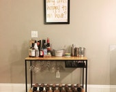 Custom Made Bar Cart with Wine Rack